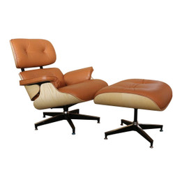 Replica Eames Lounge Chair + Ottoman - Tan Italian Leather Oak Frame