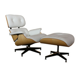 Replica Eames Lounge Chair + Ottoman - White Italian Leather Oak Frame