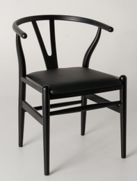 "Replica Hans Wegner ""CH24"" Wishbone Chair - Black Frame with Leather seat - Beech Timber"