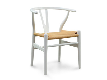 Replica Hans Wegner Wishbone Chair - White Frame (grain not visible) Natural seat - Beech Timber