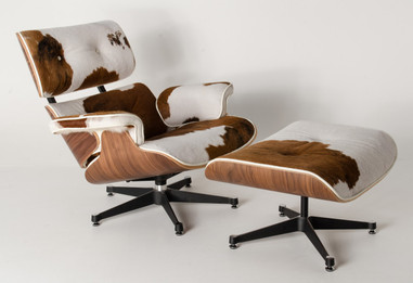 Replica Eames lounge chair+ottoman - Brown Cowhide Leather