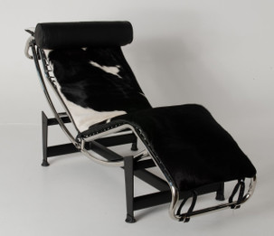 Replica Le Corbusier lounge LC4 with Black Cowhide leather + Black Leather Headrest