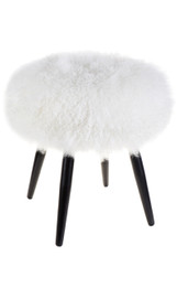 Dixie Mongolian Fur Stool - White (cl)