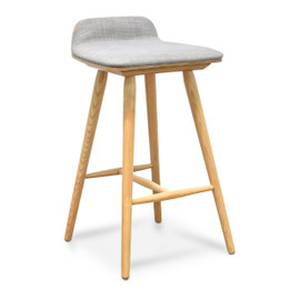 CBS937-DR 65cm Bar Stool - Grey Seat - Natural Legs (cf)