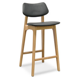 CBS938-DR 65cm Bar Stool - Black - Natural (cf)