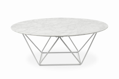 Robin 100cm Round Marble Coffee Table With White Base (cf)