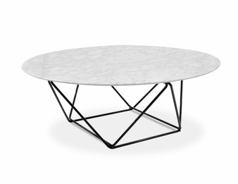 Robin 100cm Round Marble Coffee Table With Black Base (cf)