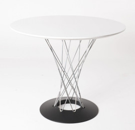 Replica Noguchi Cyclone Dining Table - Black Base, Silver Wire, White MDF Top size 100cm