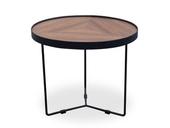 CCF385-L 60cm Round Coffee Table - Walnut Top - Black Frame (cf)