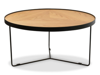 CCF388L-BB 90x45cm Round Coffee Table - Natural Top - Black Frame (cf)