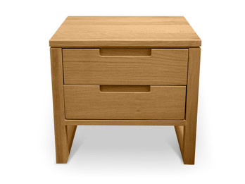 CCF490 2 Drawer Wooden Bedside Table - Natural Oak (cf)