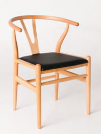 "Replica Hans Wegner ""CH24"" Wishbone Chair - Natural Frame with Leather seat - Beech Timber"