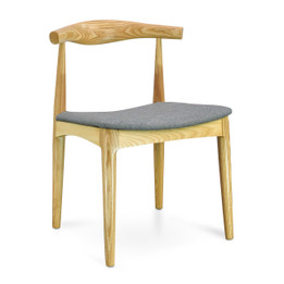 CDC182 Elbow Dining Chair - Natural with Light Grey Fabric Seat (cf)