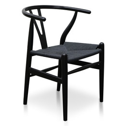 Replica Hans Wegner Wishbone Chair - Black Frame (grain not visible) Black seat - Beech Timber