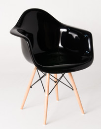 Replica Eames DAW Eiffel Armchair - fibreglass, black steel, natural wood legs - various colours