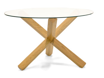 CDT1029-VN 1.2m Round Dining Table - Glass Top (cf)