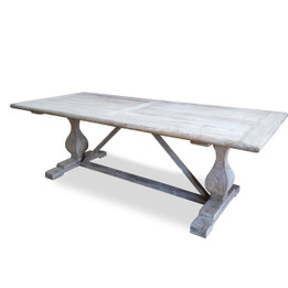 DT511 198cm Dining Table - Rustic White Washed (cf)