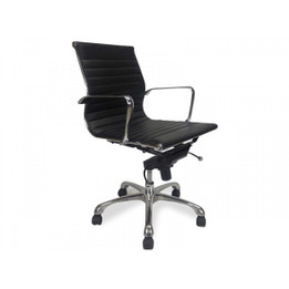 COC216 Eames Leather Office Chair - Black (cf)