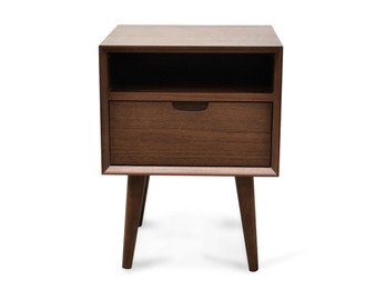 CST221WAL-VN SQ Wooden Bedside Table - Walnut (cf)