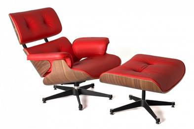 Replica Eames Lounge Chair + Ottoman - Red Italian Leather Walnut Frame