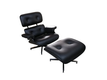 Replica Eames Lounge Chair + Ottoman - Black Italian Leather Black Frame