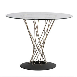 Replica Noguchi Cyclone Dining Table - Black Base, Silver Wire, Glass Top size 80cm, 90cm, 100cm