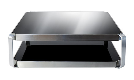 Ex Display - Contemporary coffee table - black glass, stainless steel - Clearance