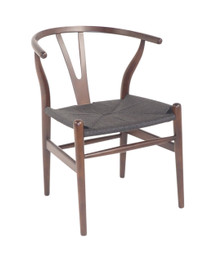 Replica Hans Wegner Wishbone Chair - Dark Walnut Frame (grain not visible) Black seat - Beech Timber