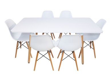 Combo Special Price - Replica Mario Cellini Halo Dining Table (160cm) and 6 x Eames Dining chairs