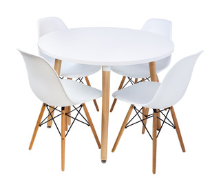 Combo Special Price - Replica Mario Cellini Halo Dining Table - round (100cm) and 4 x Eames Dining Chairs