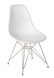 Replica Charles Eames DSR Eiffel Dining Chair - plastic, chrome legs - white, black, apple green, sky blue, orange, walnut, yellow, red