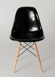 Replica Charles Eames DSW Dining Chair - fibreglass, black steel, natural timber legs - various colours