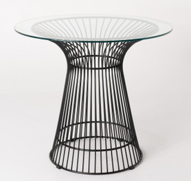 Replica Warren Platner - Wire Dining Table - Black Powdercoated - Glass Top - 80cm, 90cm, 100cm
