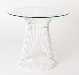 Replica Warren Platner - Wire Dining Table - White Powdercoated - Glass Top - 80cm, 90cm, 100cm