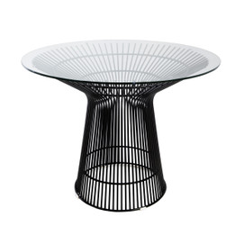 Replica Warren Platner - Wire Dining Table - Black Powdercoated - Glass Top - 100cm, 120cm, 140cm