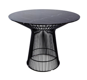 Replica Warren Platner - Wire Dining Table - Black Powdercoated - Marble Top - 100cm