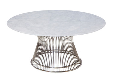 Replica Warren Platner Coffee Table - Stainless Steel - Marble Top (black or white)