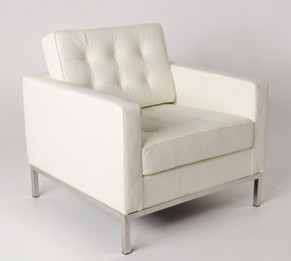 Ex display - Replica Florence Knoll-Arm chair in White Italian Leather  - CLEARANCE