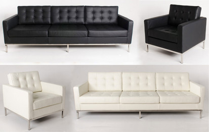 Premium Replica Florence Knoll Arm Chair - Italian Leather - black or white