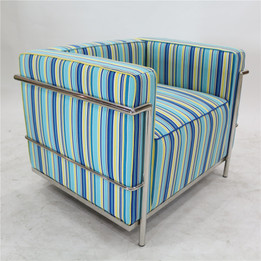 Replica Le Corbusier 1-seater-Patchwork Blue Fabric