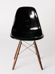 Replica Charles Eames DSW Dining Chair - fibreglass, black steel, walnut timber legs - various colours