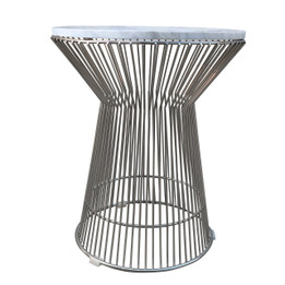 Replica Warren Platner Lamp/Side Table-Stainless Steel Frame with Marble Top