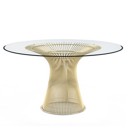 Replica Warren Platner - Wire Dining Table - Gold - Glass Top - 100cm, 120cm, 140cm