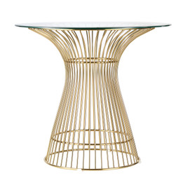 Replica Warren Platner - Wire Dining Table - Gold - Glass Top - 80cm, 90cm, 100cm