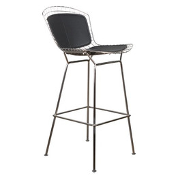 Replica Harry Bertoia Wire Bar Stool - 71cm - Chrome - Seat + Back cushions in various colours