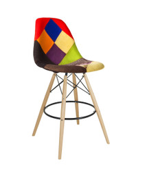 Replica Charles Eames DSW Barstool - patchwork seat, black steel, natural timber legs