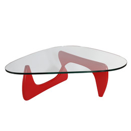 Replica Noguchi Coffee Table - Red Timber 20mm Tempered Glass