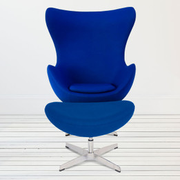 Replica Egg Chair & Egg Footstool Combo - Blue