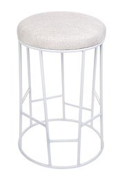Aiden Kitchen Stool - Natural w White Frame (cl)