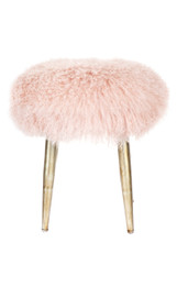 Dixie Mongolian Fur Stool - Pink (cl)